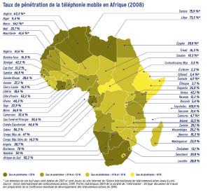 Taux de pénétration de la téléphonie mobile en Afrique (2008)