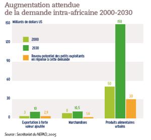 Augmentation attendue de la demande intra-africaine 2000-2030
