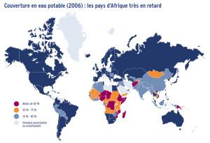 Couverture en eau potable (2006) : les pays d'Afrique très en retard