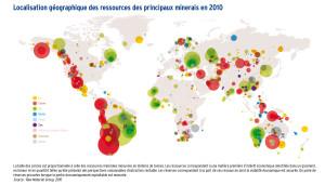 Localisation géographique des ressources des principaux minerais en 2010
